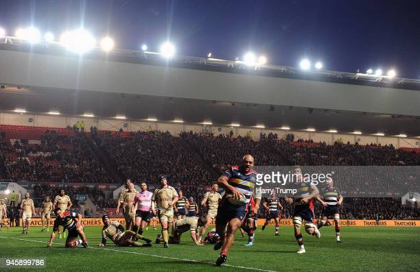 Soane Tonga'uiha of Bristol Rugby goes over for a try during the Greene King IPA Championship match between Bristol Rugby and Doncaster Knights at...