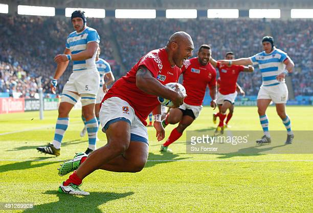 Soane Tonga'uiha of Tonga runs in for their second try during the 2015 Rugby World Cup Pool C match between Argentina and Tonga at Leicester City...
