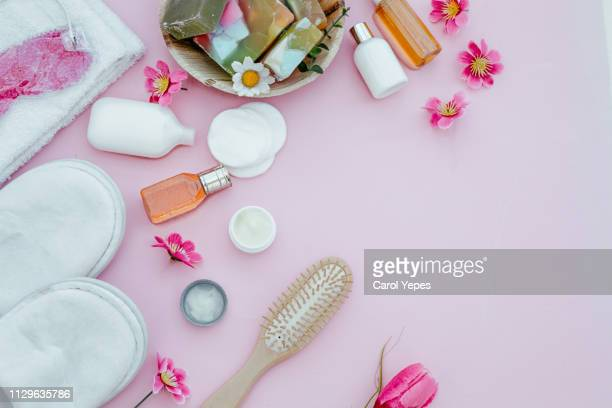 soap bar and liquid. shampoo, shower gel. towels. spa kit - körperpflege stock-fotos und bilder