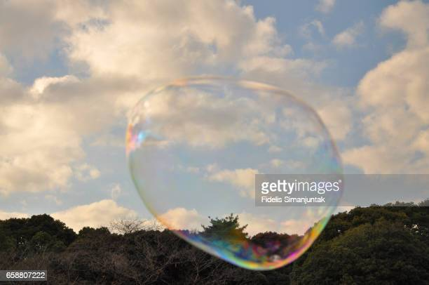 A soap bubble with clouds and sky n the background