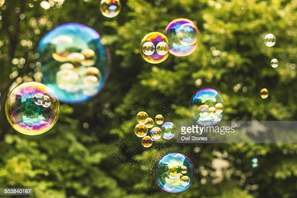 Soap bubbles flying in the air on green background
