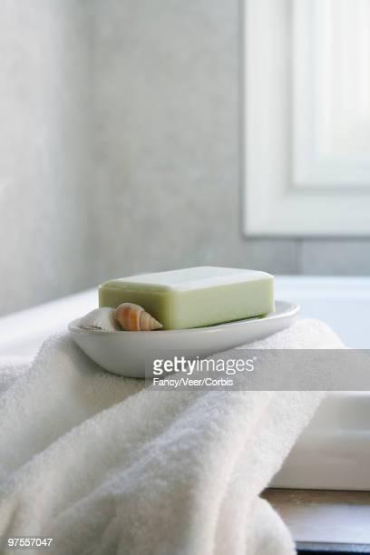 Soap dish with seashells in bathroom