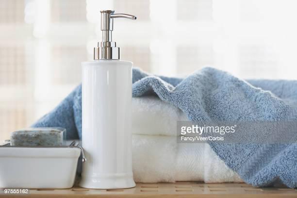 Soap dispenser and towels