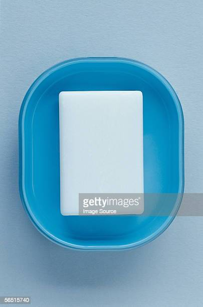 Soap in a blue soap dish