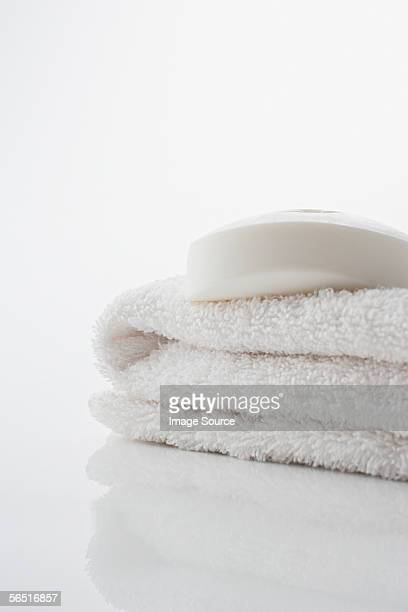 Soap on a white towel