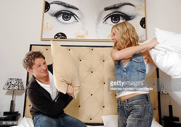 Soap star of 'Gute Zeiten Schlechte Zeiten' Jessica Ginkel and Oli Bender pose during a photo session on January 31, 2007 in Berlin, Germany.