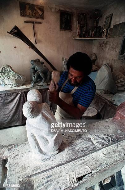 Soap stone sculptor's workshop Ouro Preto Minas Gerais Brazil