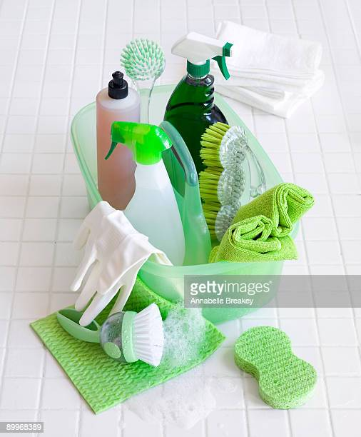 Soap suds with green cleaning supplies