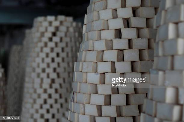 Soap under drying in a traditional factory in the old town of Nablus city of the West Bank on May 31 2015 Nablus city northern of the Palestinian...
