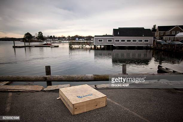 A soapbox awaits Republican presidential candidate Mitt Romney at a campaign stop in Portsmouth New Hampshire