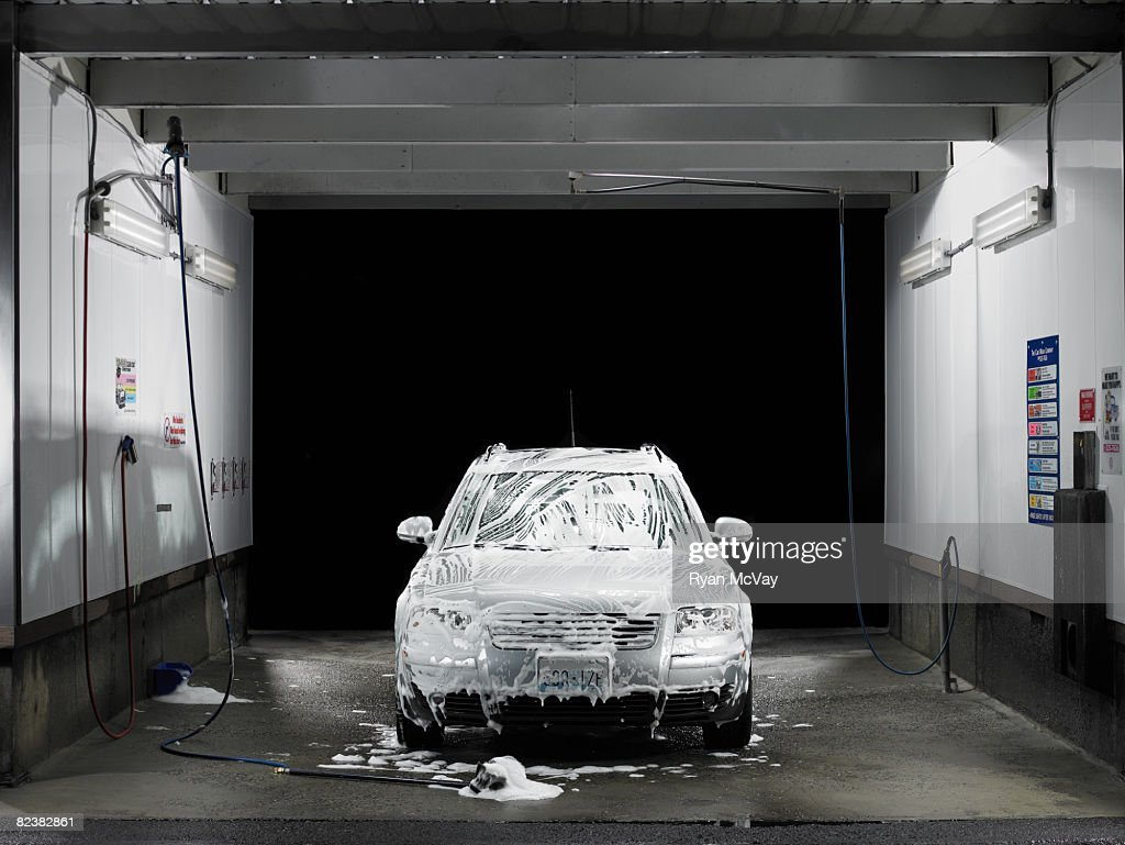 Soapy Car At Self Service Car Wash High-Res Stock Photo