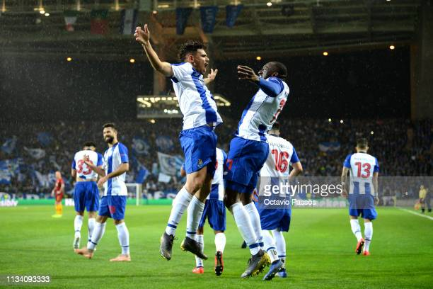 Soares of FC Porto celebrates after he scores his sides first goal scores his sides first goal during the UEFA Champions League Round of 16 Second...