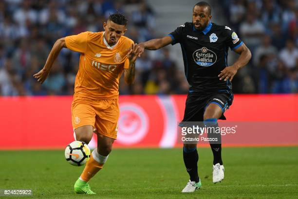 Soares of FC Porto competes for the ball with Sidnei of RC Deportivo La Coruna during the PreSeason Friendly match between FC Porto and RC Deportivo...