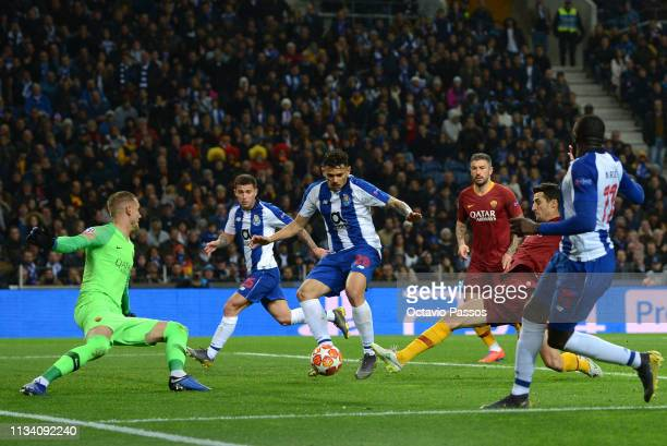 Soares of FC Porto scores his sides first goal scores his sides first goal during the UEFA Champions League Round of 16 Second Leg match between FC...