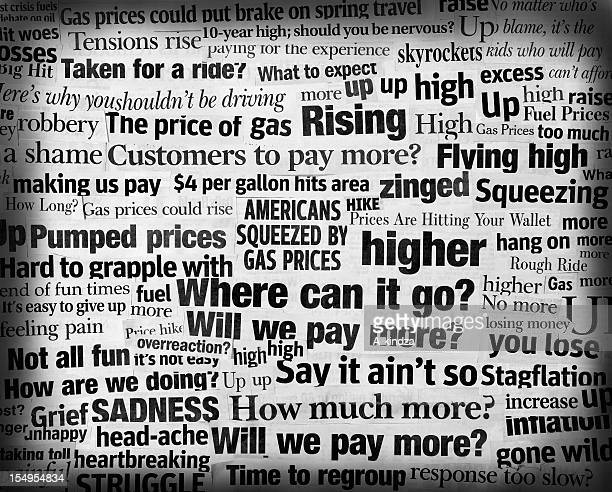 soaring gas price headline collage - satire stock pictures, royalty-free photos & images