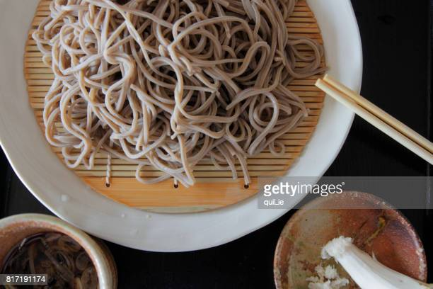 soba noodle with wasabi - soba stock pictures, royalty-free photos & images