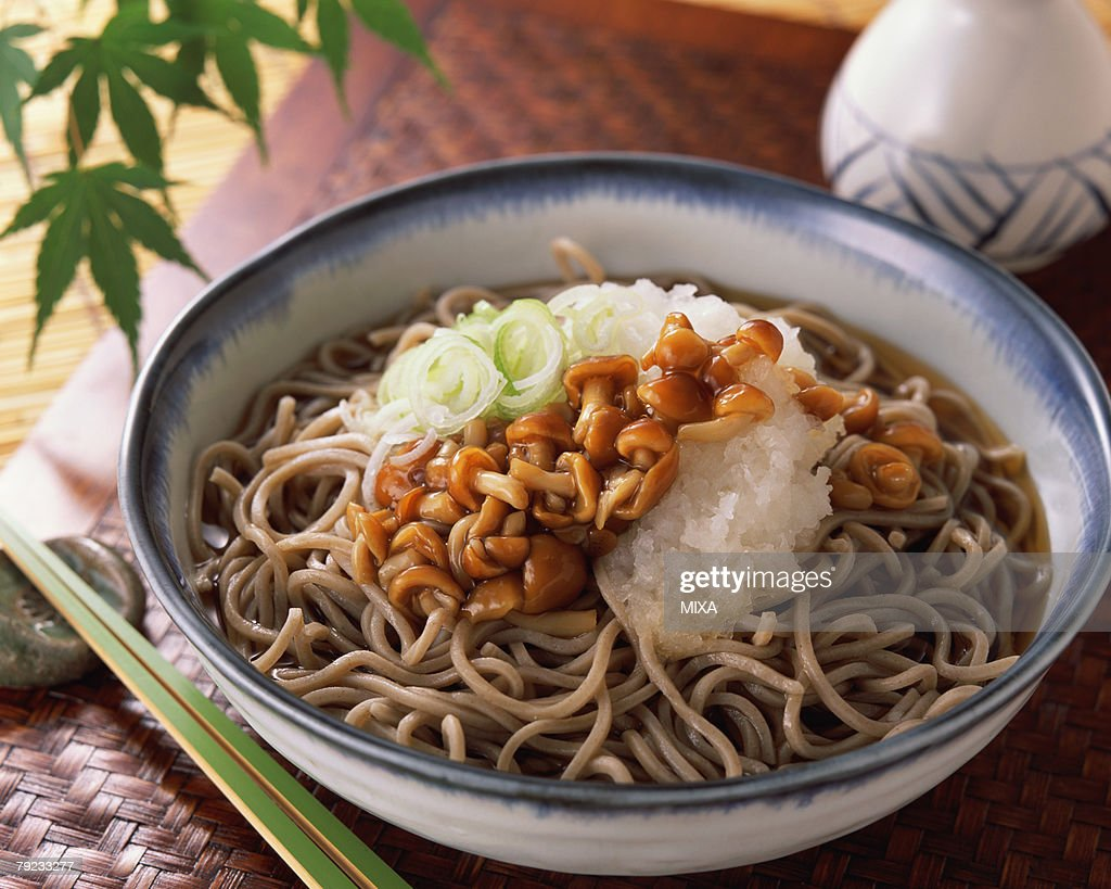 Soba with nameko mushrooms : Stock Photo