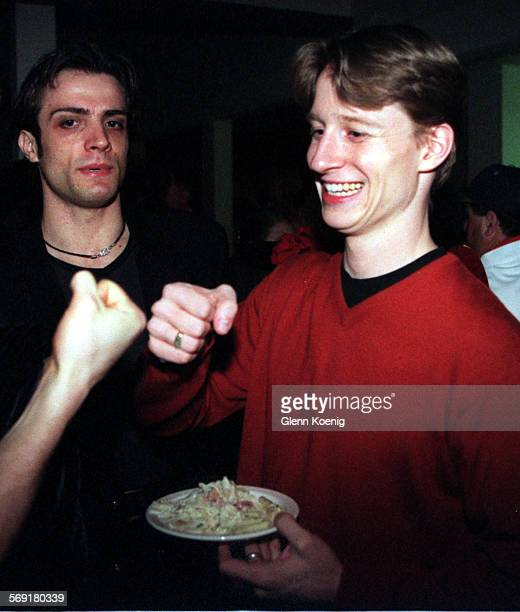 SOBalletEthan0203GK left to rightGiuseppe Picone and Ethan Stiefel as Ethan is greeted by a friend during a cast party after the opening night of Le...