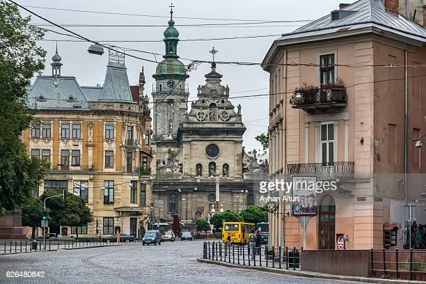 Soborna Square and The Bernardine church and monastery in the backround in Lviv,Ukraine