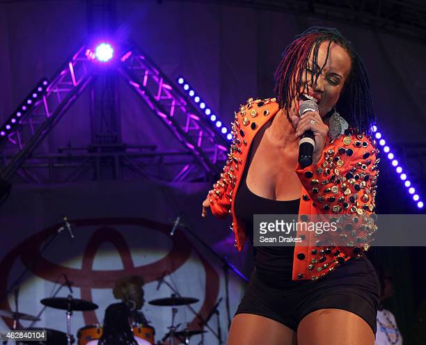 Soca artist Alison Hinds of Barbados performs during the Toyota Battle of the Sexes concert at Jean Pierre Complex as part of Trinidad and Tobago...