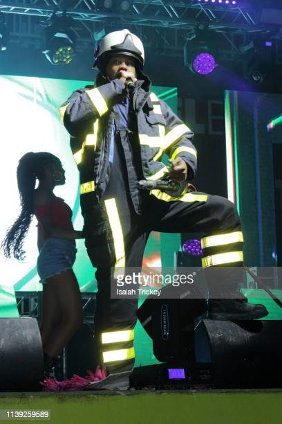 Soca artist Ambassa Da Lion competes in the Power category of Soca Ramble during St Maarten Carnival at The St Maarten Festival Village on April 24...