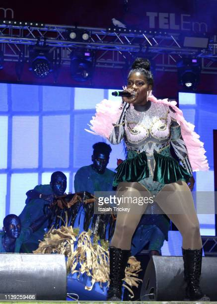 Soca artist Ebony Empress competes in the Power category of Soca Ramble during St Maarten Carnival at The St Maarten Festival Village on April 24...