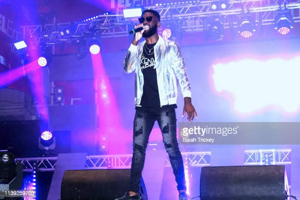 Soca artist Kenyo Baly competes in the Power category of Soca Ramble during St Maarten Carnival at The St Maarten Festival Village on April 24 2019...