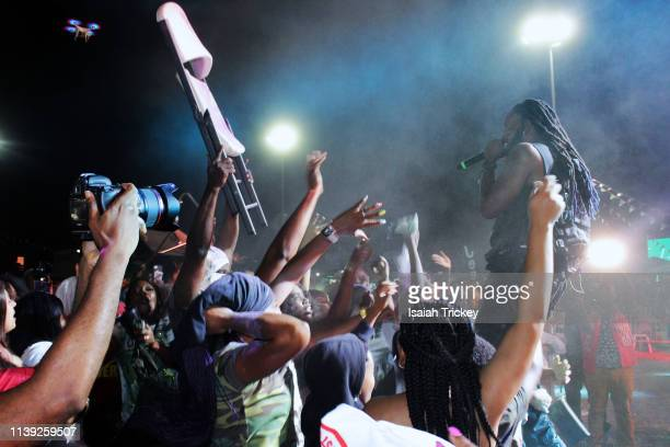 Soca artist King James competes in the Power category of Soca Ramble during St Maarten Carnival at The St Maarten Festival Village on April 24 2019...
