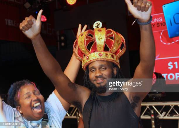Soca artist King James winner of the Groovy category of Soca Ramble poses on stage during St Maarten Carnival at The St Maarten Festival Village on...
