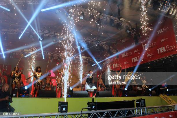 Soca artist King Vers competes in the Power category of Soca Ramble during St Maarten Carnival at The St Maarten Festival Village on April 24 2019 in...