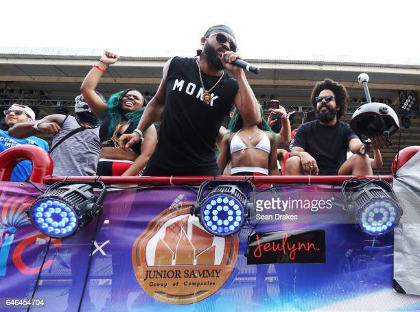Soca artist Machel Montano performs for masqueraders with Fantasy presenting '1001 Fantasies & Alluring Tales' in the Queen's Park Savannah during...