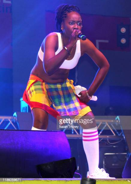 Soca artist Solokween competes in the Power category of Soca Ramble during St Maarten Carnival at The St Maarten Festival Village on April 24 2019 in...