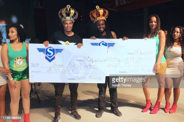 Soca artists King Vers winner of the Power category of Soca Ramble and Soca artist King James winner of the Groovy category of Soca Ramble pose on...