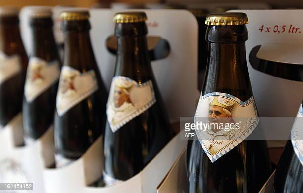 Socalled 'PopeBeer' is on display on April 16 2010 in a shop in Marktl am Inn a small southern German village where Pope Benedict XVI former Cardinal...