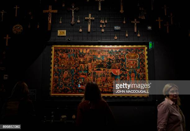 """So-called """"Proskynetarion"""", a monumental Eastern Orthodox Church icon, is on display at the """"Welcome to Jerusalem"""" exhibition at the Jewish Museum in..."""