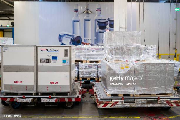 So-called 'va-Q-tainer' , an advanced passive container for the global transportation of clinical and pharmaceutical goods, is pictured next to other...
