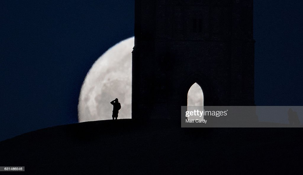 A so-called wolf moon rises over Glastonbury Tor on January 11, 2017 in Somerset, England. In some parts of the world, the January full moon is nicknamed the wolf moon, which dates back to the days when native American tribes gave names to each month's full moon to help keep track of the seasons. The full moon was visible ahead of a forecast for wind and snow hitting parts of the UK tomorrow. .