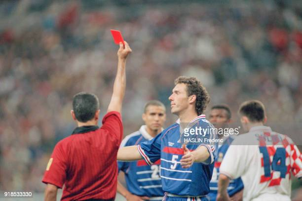 Soccer 1998 World Cup France Vs Croatia Red card for french soccer player Laurent Blanc