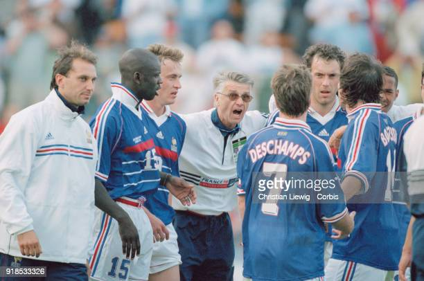 Soccer 1998 World Cup France Vs Paraguay match French coach Aimé Jacquet with french soccer team