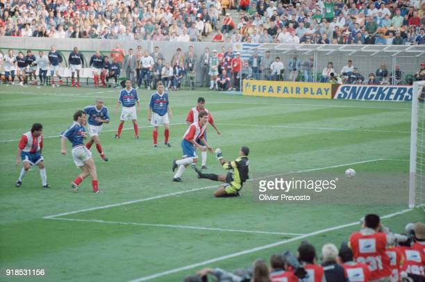 Soccer 1998 World Cup France Vs Paraguay match French soccer player Laurent Blanc scores a goal against Paraguay