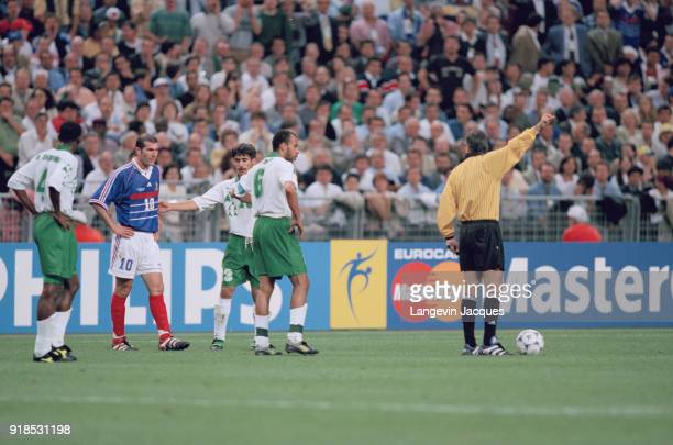 Soccer 1998 World Cup France Vs Saudi Arabia match Red card for Zinedine Zidane