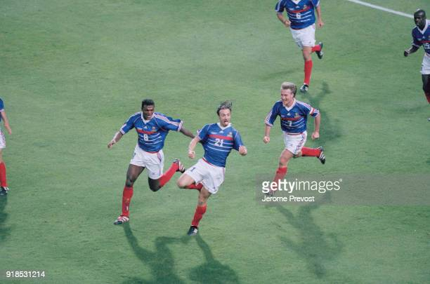 Soccer 1998 World Cup France Vs South Africa French soccer player Christophe Dugarry scores a goal against South Africa From left to right french...