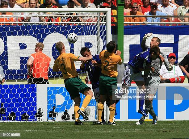 Soccer 2006 Australia's goalkeeper Mark Schwarzer appears to be fouled but the referee allowed Japan's goal during the World Cup match between...