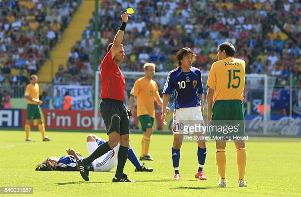 Soccer 2006 Australia's John Aloisi is booked for a penalty during the World Cup match between Australia and Japan in Kaiserslautern 12 June 2006 SMH...