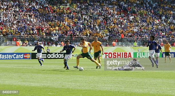 Soccer 2006 Australia's John Aloisi scores a goal during the World Cup match between Australia and Japan in Kaiserslautern 12 June 2006 SMH Picture...