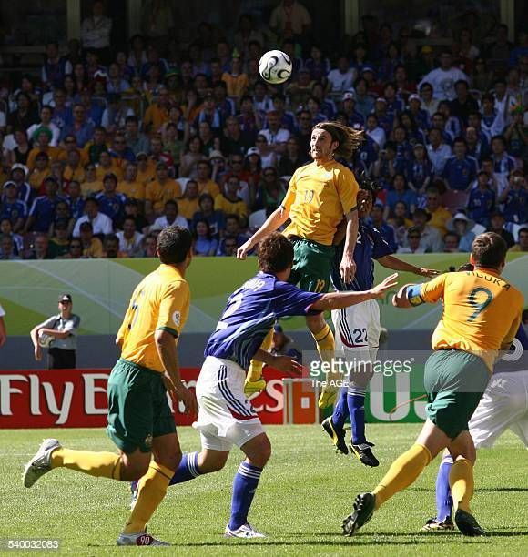 Soccer 2006 Australia's Josh Kennedy heads the ball during the World Cup match between Australia and Japan in Kaiserslautern 12 June 2006 THE AGE...