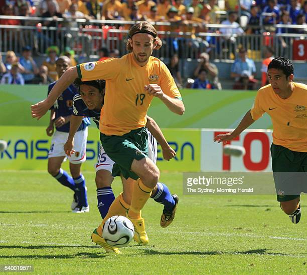 Soccer 2006 Australia's Josh Kennedy in action during the World Cup match between Australia and Japan in Kaiserslautern 12 June 2006 SMH Picture by...
