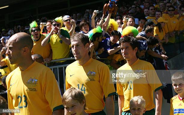 Soccer 2006 Australia's Marco Bresciano Scott Chipperfield and Harry Kewell enter the stadium before the World Cup match between Australia and Japan...
