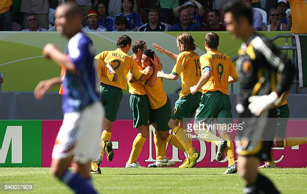 Soccer 2006 Australia's Tim Cahill celebrates his goal during the World Cup match between Australia and Japan in Kaiserslautern 12 June 2006 THE AGE...