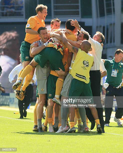 Soccer 2006 Australia's Tim Cahill is congratulated after scoring his second goal during the World Cup match between Australia and Japan in...